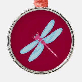 Lila Libelle Silbernes Ornament
