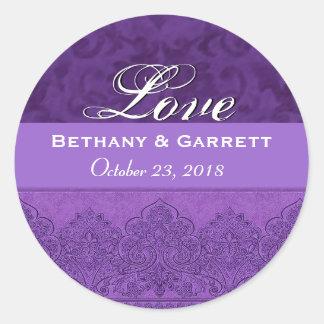 Lila Liebe-Braut-und Bräutigam-Datum F202 Sticker