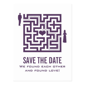 Lila Liebe-Labyrinth-Save the Date Postkarte