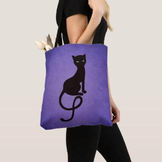 Lila liebenswürdige schlechte schwarze Katze Tasche