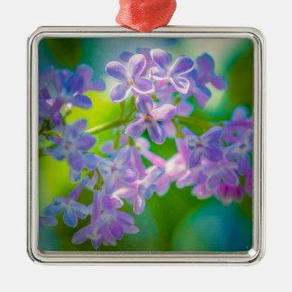 Lila lila Blumen Silbernes Ornament