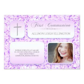 Lila lila Rosen-erstes Kommunions-Gewohnheits-Foto Karte