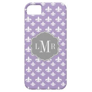 Lila Lilien-Muster-Monogramm Etui Fürs iPhone 5