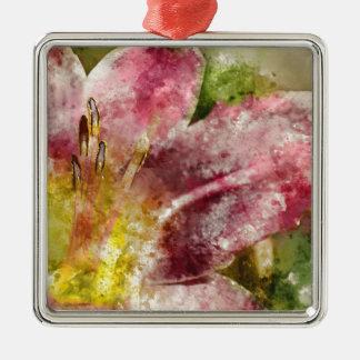 Lila Lilien-nahes hohes Silbernes Ornament