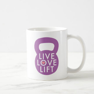 """Lila """"LiveLiebe-Aufzug """" Kaffeetasse"""