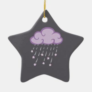 Lila Locken-Regen-Wolke mit fallenden Sternen Keramik Ornament