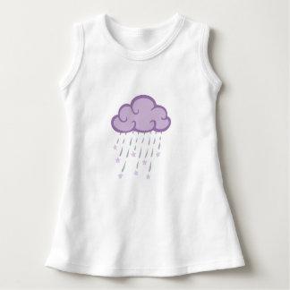 Lila Locken-Regen-Wolke mit fallenden Sternen Kleid