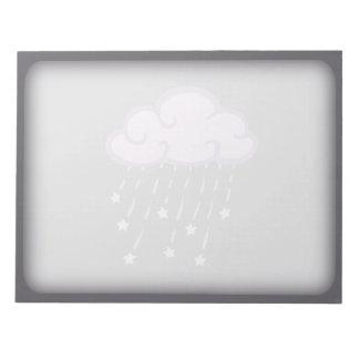 Lila Locken-Regen-Wolke mit fallenden Sternen Notizblock