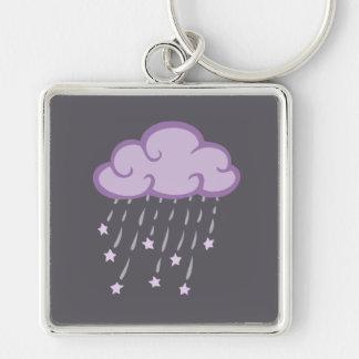 Lila Locken-Regen-Wolke mit fallenden Sternen Schlüsselanhänger