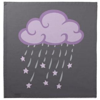Lila Locken-Regen-Wolke mit fallenden Sternen Serviette