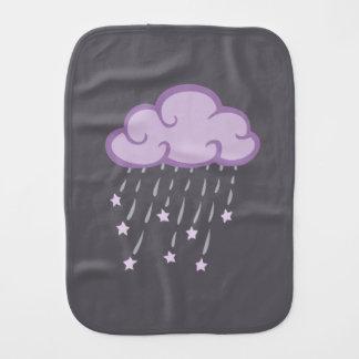 Lila Locken-Regen-Wolke mit fallenden Sternen Spucktuch