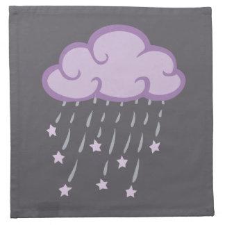 Lila Locken-Regen-Wolke mit fallenden Sternen Stoffserviette