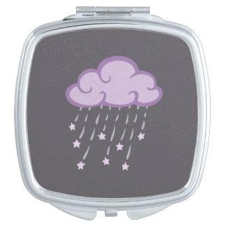 Lila Locken-Regen-Wolke mit fallenden Sternen Taschenspiegel