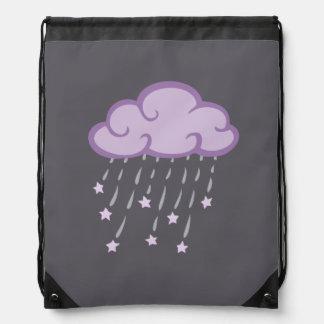 Lila Locken-Regen-Wolke mit fallenden Sternen Turnbeutel