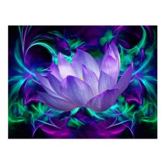 Lila Lotos-Blume und seine Bedeutung Postkarte