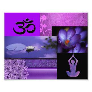 Lila Lotos u. Krone Chakra Meditations-Collage Fotodruck