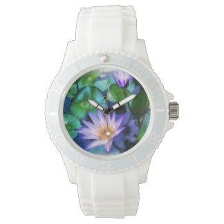 Lila LotosWatercolor Armbanduhr