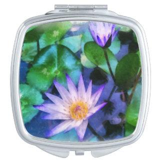 Lila LotosWatercolor Taschenspiegel