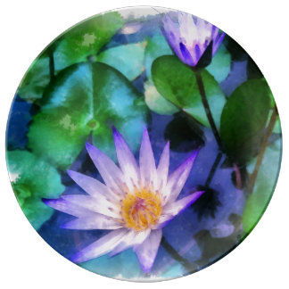 Lila LotosWatercolor Teller