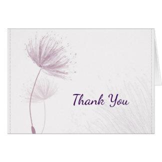 Lila Löwenzahn-Hochzeit danken Ihnen zu kardieren Karte