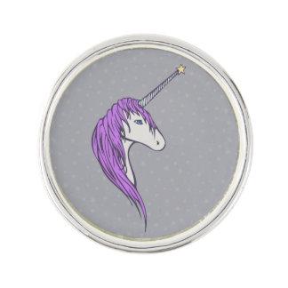 Lila Mähneweißer Unicorn mit Stern-Horn Anstecknadel