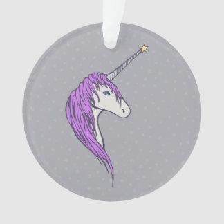 Lila Mähneweißer Unicorn mit Stern-Horn Ornament