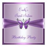 Lila malvenfarbener Schmetterlings-Geburtstag 16. Individuelle Einladungen