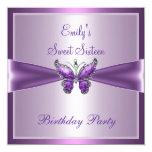 Lila malvenfarbener Schmetterlings-Geburtstag 16. Quadratische 13,3 Cm Einladungskarte