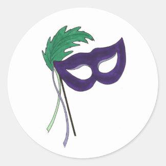 Lila Maskerade-Ball-Masken-Masken-Drama-Theater Runder Aufkleber
