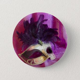 Lila Maskerade-Maske Runder Button 5,7 Cm
