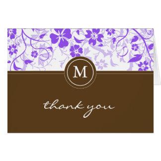 Lila mit Blumenmonogramm danken Ihnen zu kardieren Karte