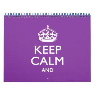 Lila Monatszeitschrift BEHALTEN RUHE UND Ihren Kalender