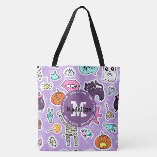 Lila Monogramm-Halloweentrick-oder Tasche