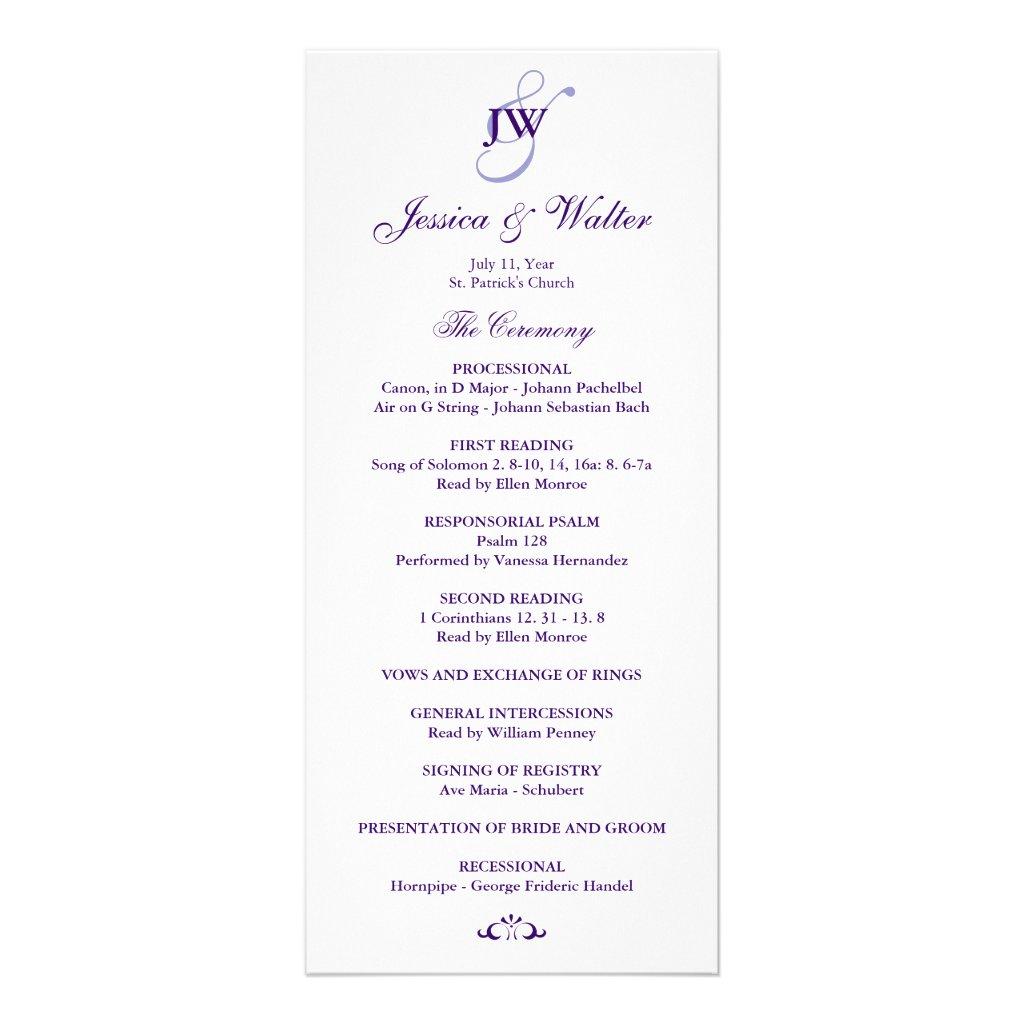 Einfache Hochzeits-Programm