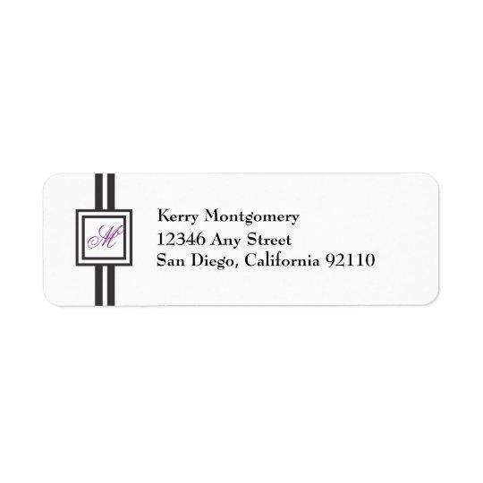 Lila Monogramm Striped Rücksendeadresse-Aufkleber Rücksendeetiketten