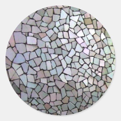 lila mosaik muster runder aufkleber zazzle. Black Bedroom Furniture Sets. Home Design Ideas