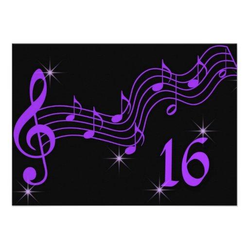 Lila Musiknoten-16. Geburtstag-Einladung
