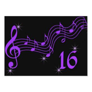 Lila Musiknoten-16. Geburtstag-Einladung 11,4 X 15,9 Cm Einladungskarte