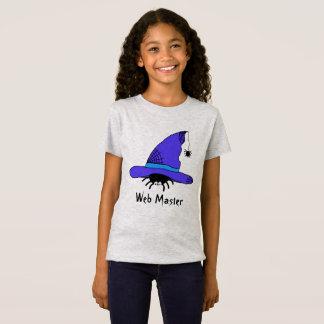 Lila Netz-Meister Spinnen-Hexe-Hut-Halloweens T-Shirt