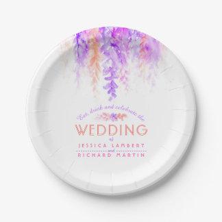 Lila orange kundenspezifischer Hochzeits-Teller Pappteller