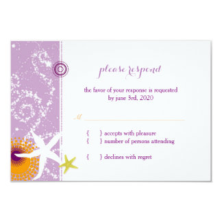 Lila orange weißes Strand-Hochzeit UAWG 8,9 X 12,7 Cm Einladungskarte