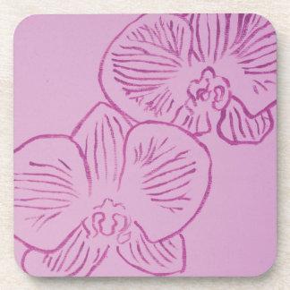 Lila Orchideen-abstrakte Kunst Getränk Untersetzer
