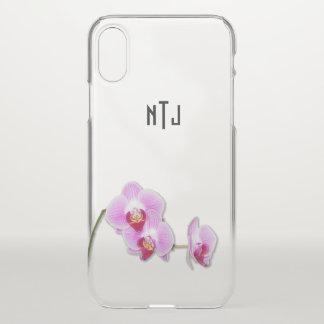 Lila Orchideen-Blumenphotographie - klares BG iPhone X Hülle
