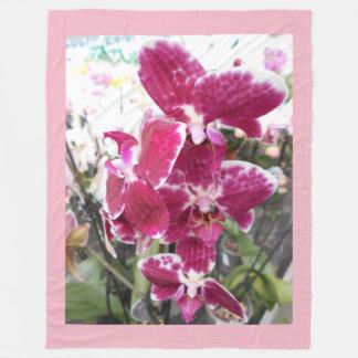 Lila Orchideen Fleecedecke