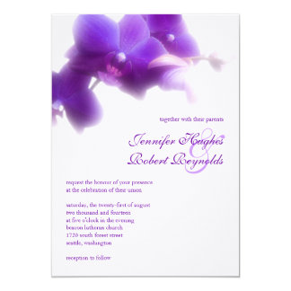 Lila Orchideen-Hochzeits-Einladung 12,7 X 17,8 Cm Einladungskarte