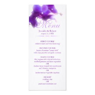 Lila Orchideen-Hochzeits-Menü Karte