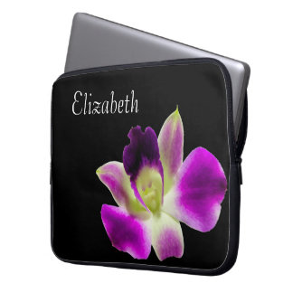 Lila Orchideen-Laptop-Hülsen-Schablone Laptopschutzhülle