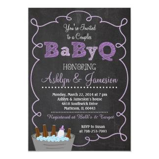 Lila Paare BabyQ GRILLEN Baby-Duschen-Einladung 12,7 X 17,8 Cm Einladungskarte