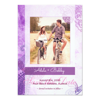 Lila Paisley-Hochzeits-Foto Save the Date Karte