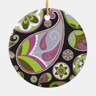 Lila Paisley-Muster Keramik Ornament